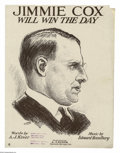 Political:Small Paper (1896-present), Very Unusual 1920 James M. Cox Sheet Music. Cox sheet music is even rarer than his buttons, and this is a variety we have no...