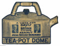 Political:Posters & Broadsides (1896-present), Marvelous 1924 Die-Cut Cardboard Window Sign For Davis & Bryan, Exploiting the Teapot Dome Scandal. This has always been one...