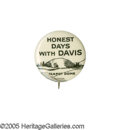 "Political:Pinback Buttons (1896-present), Classic 1924 John W. Davis ""Teapot Dome"" Cartoon Button. This rare7/8"" item sought to capitalize on the oil scandal which r..."
