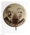 "Political:Pinback Buttons (1896-present), Exceedingly Rare, Oversized 1 3/4"" Coolidge & Dawes Jugate.While a ""larger"" version of this usually 1 1/4"" jugate has appea..."