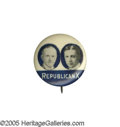 """Political:Pinback Buttons (1896-present), Possibly-Unique Manufacturer's Trial Issue or Sample of the Familiar """"Republican X"""" 7/8"""" Jugate, in Blue and White Only. Thi..."""