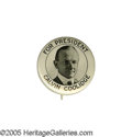 "Political:Pinback Buttons (1896-present), A Rare and Very Elegant 7/8"" Calvin Coolidge Pinback. This beauty,from an obscure Washington, D.C. maker, is about as attra..."