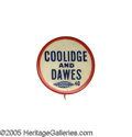 """Political:Pinback Buttons (1896-present), Rare Coolidge & Dawes 7/8"""" Name Button. This piece is clearly by the same manufacturer of the """"Back to Honesty With Davis"""" w..."""