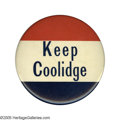 """Political:Pinback Buttons (1896-present), Scarce Large 4"""" """"Keep Coolidge"""" Celluloid. Filled cardboard backwith fold-out stand, which appears never to have been used...."""