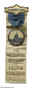 Political:Ribbons & Badges, Rare 1920 Calvin Coolidge Vice Presidential Notification Day Badges. Coolidge vice presidential items are all rare, and th...