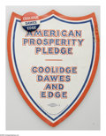 """Political:Pinback Buttons (1896-present), Two Fine 1924 Calvin Coolidge """"Coat-tail"""" Items. While the attached 7/8"""" button is not terribly scarce, we do not recall see..."""