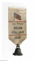"""Political:Ribbons & Badges, Most Unusual 1928 Calvin Coolidge """"Hopeful"""" Badge. It is hard to guess whether this item will go to a """"hopeful"""" or a Coolidg..."""