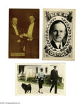 Political:Small Paper (1896-present), Three Exceptional Calvin Coolidge Postcards. 1). Rare color-tintedreal photo of Calvin and Grace walking the family cho...