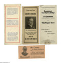 Political:Small Paper (1896-present), A Group Lot of Six Exceptional Calvin Coolidge Paper Items. 1). Twopro-18th Amendment stiff cards, one picturing Coolid...
