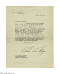 Autographs:U.S. Presidents, Great Calvin Coolidge Political Typed Letter Signed as Presidentdated October 12, 1923, one page, on White House stationery...