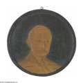 """Political:3D & Other Display (1896-present), Unique """"Folk Art"""" Calvin Coolidge Wood Plaque, Signed by the Artist High-relief hand-carved wood plaque. Reverse signed and..."""