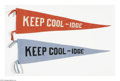 "Political:Textile Display (1896-present), Rare ""Keep Cool-idge"" 1924 Felt Campaign Pennants in Two Colors. Actual campaign pennants of this era are quite uncommon. Th..."