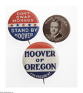Political:Pinback Buttons (1896-present), Eight Different Herbert Hoover Campaign Pinbacks, All Scarcer Varieties. All 1928 and 1932 items, except for a 1920 Hopeful ... (Total: 8 )