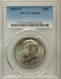 Kennedy Half Dollars, 1983-D 50C MS66 PCGS. PCGS Population: (209/35). NGC Census:(83/7). Mintage 32,472,244. ...