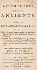 Books:World History, Des[iderius] Erasmus. The Apophthegms of the Ancients. London: 1753. Later edition.... (Total: 2 Items)