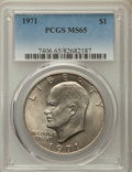 Eisenhower Dollars, 1971 $1 MS65 PCGS. PCGS Population: (999/90). NGC Census: (718/45). CDN: $50 Whsle. Bid for problem-free NGC/PCGS MS65. Min...
