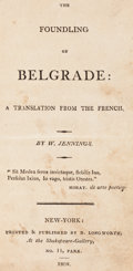 Books:Literature Pre-1900, W. Jennings. The Foundling of Belgrade. New-York: 1808. First English-language edition....