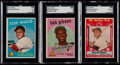 Baseball Cards:Lots, 1959 Topps Stan Musial, Bob Gibson & Willie Mays All-Star SGCGraded Trio (3)....