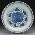 Asian:Chinese, A Chinese Blue and White Porcelain Charger, 17th Century. 3-5/8inches high x 17-1/8 inches diameter (9.2 x 43.5 cm). ...