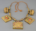 Asian:Other, A Nepalese Semi-Precious Stone Inlaid Gold and Gilt Copper AlloyAmulet Necklace, circa 1800. 14-1/2 inches long (36.8 cm) (...