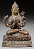 Asian:Chinese, A Nepalese Copper Alloy Figure of a Four-Armed Bodhisattva, 18th-19th century. 4-7/8 inches high (12.4 cm). ...