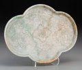 Asian:Chinese, A Chinese Mottled Jadeite Quatrefoil Tray, Qing Dynasty, 19thcentury. 5-1/8 inches high x 7-1/4 inches wide (13.0 x 18.4 cm...