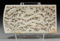 Asian:Chinese, A Fine Chinese Reticulated White Jade Plaque, Ming Dynasty. 2-3/8inches high x 4-3/8 inches wide (6.0 x 11.1 cm). ...