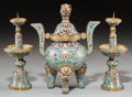 Other, A Three-Piece Chinese Gilt Bronze and Cloisonné Altar Set, Qing Dynasty, late 19th-early 20th century. 7-7/8 inches high (20... (Total: 3 Items)