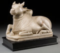 Asian:Other, An Indian Carved Marble Figure of Nandi with Stand, 20th century.10 inches high x 11 inches wide (25.4 x 27.9 cm) (without ...(Total: 2 Items)