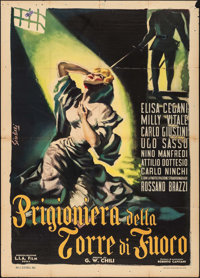 "Prisoner in the Tower of Fire (L.I.A., 1953). Italian 2 - Fogli (39.25"" X 55""). Foreign"