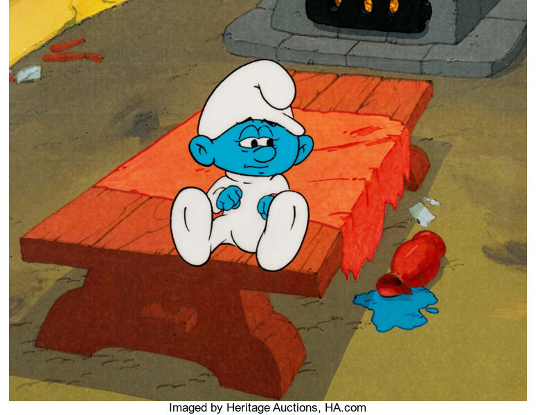 the smurfs baby smurf production cel hanna barbera c 1980s
