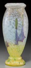 Art Glass:Daum, Daum Acid-Etched and Enameled Glass Angel's Trumpet Vase.Circa 1900. Enameled Daum, (Cross of Lorraine), ...