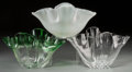 Art Glass, Three Steuben Glass Handkerchief Vases. Late 20th century. Engraved Steuben. 6-5/8 x 12-1/4 x 7 in.. ... (Total: 3 Items)