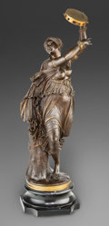 Sculpture, Antigo Jean Baptiste Clesinger. Dancer with Tambourine. Bronze with brown patina. 40 inches (101.6 cm) high on a 6 inche...