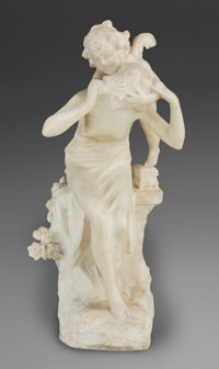 After Auguste Louis Moreau (French, 1855-1919) Continental Carved Marble Figural Group of a Woman Blindfolded b