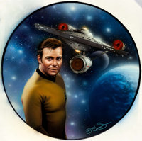 """Keith Birdsong Star Trek: Power of Command """"Captain Kirk and The USS Enterprise"""" Collector Plate Painting Orig..."""