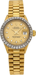 Estate Jewelry:Watches, Rolex Lady's Diamond, Gold Oyster Perpetual DateJust Watch, circa 1981. ...