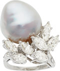 Estate Jewelry:Rings, Diamond, South Sea Cultured Pearl, Platinum Ring. ...