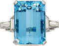 Estate Jewelry:Rings, Aquamarine, Diamond, Platinum Ring . ...