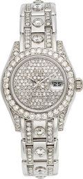 Estate Jewelry:Watches, Rolex Lady's Diamond, White Gold Pearlmaster Watch. ...