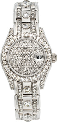 Rolex Lady's Diamond, White Gold Pearlmaster Watch
