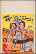 "Movie Posters:Comedy, Abbott and Costello Meet the Mummy (Universal International, 1955).Trimmed Window Card (14"" X 21.25""). Comedy.. ..."
