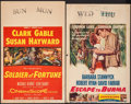 "Movie Posters:Adventure, Soldier of Fortune & Other Lot (20th Century Fox, 1955). WindowCard (14"" X 22"") & Trimmed Window Card (14""X 22.25""). Advent...(Total: 2 Items)"