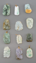 Asian:Chinese, A Group of Twelve Chinese Carved Jadeite and Hardstone Pendants.2-1/8 inches (5.4 cm) (longest). ... (Total: 12 Items)
