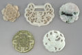 Other, A Group of Five Chinese Carved Jade and Bowenite Plaques. 3 inches wide (7.6 cm) (largest). ... (Total: 5 Items)