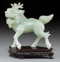 Asian:Chinese, A Chinese Carved Jade Qilin Figure on Stand. 6-1/2 inches high x6-3/4 inches wide (16.5 x 17.1 cm) (jade). 7-3/4 inches hig...(Total: 2 Items)