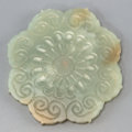 Asian:Chinese, A Chinese Carved Jade Flower Plaque. 3-1/8 inches diameter (7.9cm). ...