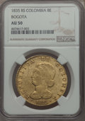 Colombia, Colombia: Republic gold 8 Escudos 1835-RS AU50 NGC,...