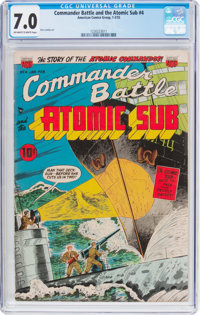 Commander Battle And The Atomic Sub #4 (ACG, 1955) CGC FN/VF 7.0 Off-white to white pages