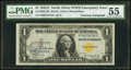 Small Size:World War II Emergency Notes, Julian Courtesy Autograph Fr. 2306 $1 1935A North Africa Silver Certificate. PMG About Uncirculated 55.. ...
